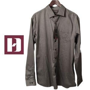 Denver Hayes Mens Dress Shirt Grey Formal Event Office Manager Size Large